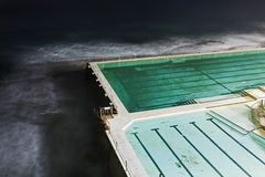 Sea Bondi Pool Above Corner Dark Royalty Free Stock Images