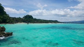 The sea of Boracay Island in cloudy weather royalty free stock images