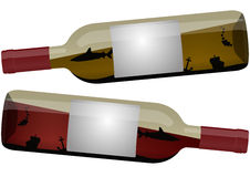 Sea bottle. Illustration of wine bottle with sea inside, white and red wine vector illustration
