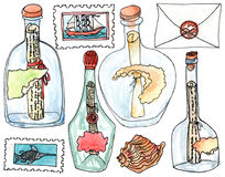 Sea bottles with letters. Watercolor set of sea adventures bottles with letters on white background Stock Photography