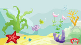 Sea bottom. With fishes, starfish, crab and seaweed vector illustration