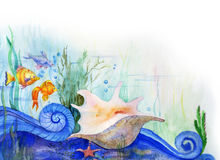 Sea-bottom. Fishes, seaweed and a bowl on a sea-bottom. Drawing a water color Royalty Free Stock Images