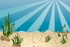 Sea bottom - cartoon style stock photo