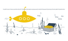 Sea bottom discovery, yellow submarine Stock Image