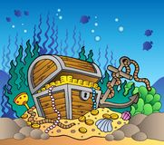Sea bottom with old treasure chest. Illustration Stock Photography