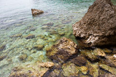 Sea bottom. Rocks on the bottom of the sea, clear water Royalty Free Stock Images