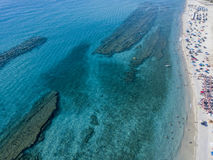 Sea bottom seen from above, Zambrone beach, Calabria, Italy. Aerial view Stock Photos