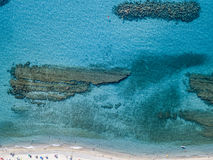 Sea bottom seen from above, Zambrone beach, Calabria, Italy. Aerial view. Sea bottom seen from above, Zambrone beach, Calabria, Italy. Diving relaxation and stock photo