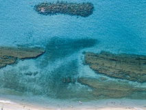 Sea bottom seen from above, Zambrone beach, Calabria, Italy. Aerial view. Sea bottom seen from above, Zambrone beach, Calabria, Italy. Diving relaxation and royalty free stock photos