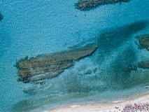 Sea bottom seen from above, Zambrone beach, Calabria, Italy. Aerial view. Sea bottom seen from above, Zambrone beach, Calabria, Italy. Diving relaxation and stock image