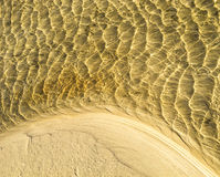 Sea bottom texture, yellow sand waves in shallow water. Stock Images