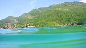 Sea bottom under water. Waters of the Adriatic, Montenegro. Text stock video