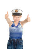 Sea boy showing ok gesture. Isolated on white background.  On his cap emblem of Russia Royalty Free Stock Images