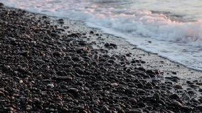 Sea Braking Against Stones And Pebbles On a Beach, Waves of Pure Water stock video footage