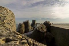 Sea breakwater. A breakwater on the Black Sea coast in winter royalty free stock image