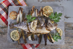 Sea bream baked in the oven Royalty Free Stock Image