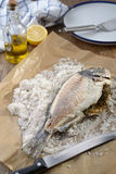 Sea bream baked in salt Stock Photography