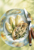 Sea bream fillet with fennel puree Royalty Free Stock Photography