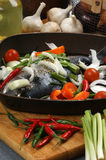 Sea bream from greece with vegetable Royalty Free Stock Photos