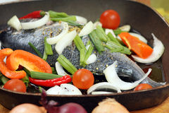 Sea bream from greece with vegetable Royalty Free Stock Photo