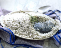 Sea bream in salt crust Stock Image