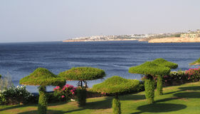 Sea breathe. Red sea view from resort territory in Egypt Stock Photo