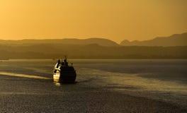 Sea Breeze setting sail in Corfu at sunset Stock Photography