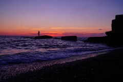 Sea breeze. Setting sun on the background of the sea Adler Stock Photos