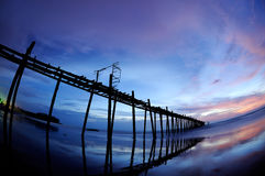 Sea and bridge with Beautiful sky. At Twilight.Shooting with a fisheye lens stock image