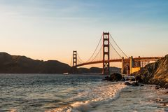Sea, Bridge, Sky, Sunset Stock Images