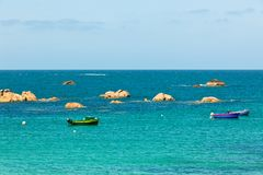Sea and bright fisherman boats Stock Image