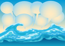 Sea of bubble text. Illustration of sea and bubble text, metaphor of dialog now a day Royalty Free Stock Images