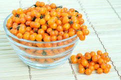 Sea-buckthorn berries in glass bowl Royalty Free Stock Photos