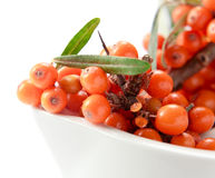 Sea-buckthorn berries  isolated on white Royalty Free Stock Photography