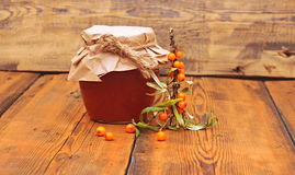 Sea buckthorn berries juice Stock Image