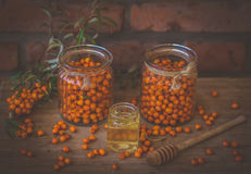 Sea buckthorn. With honey,still life composition Royalty Free Stock Image