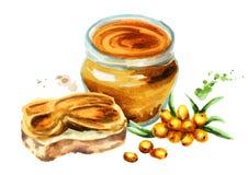 Sea buckthorn jam composition. Watercolor illustration Stock Photo