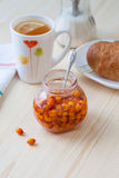 Sea buckthorn jam in a jar. Tasty and healthy Stock Image