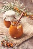 Sea buckthorn jam (toning, vintage) Royalty Free Stock Images