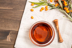 Sea buckthorn oil at right side Royalty Free Stock Photos