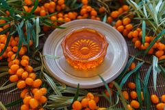 Sea-buckthorn oil together with berries of sea-buckthorn stock photos