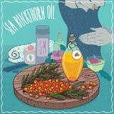 Sea buckthorn oil used for hair care Stock Photo