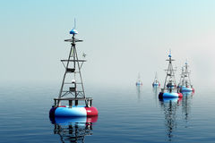 Sea buoys during day. Royalty Free Stock Images