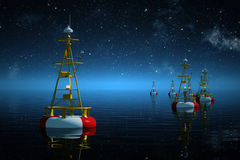 Sea buoys at night. Stock Photo