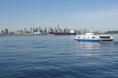 Sea bus crossing Burrard Inlet Royalty Free Stock Photo