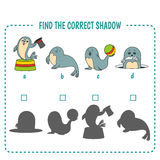 Sea calf. Find the right shadow image. Educational games for kids. seals Stock Photography