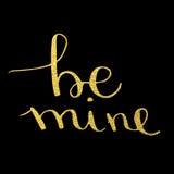 Sea caligrafía del texto de la mina dibujada en tarjeta de felicitación del día del ` s de la tarjeta del día de San Valentín Fotos de archivo