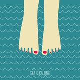 Sea is calling. Summer card. Feet in the sea Stock Images
