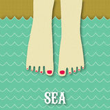 Sea is calling. Summer card. Feet in the sea Royalty Free Stock Photography