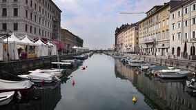 Sea canal in Trieste full of boats stock footage